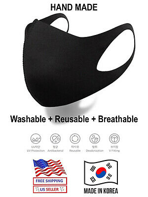 5pc Face Mask Washable Reusable Breathable Unisex Black Handmade ATB Fabric 3D