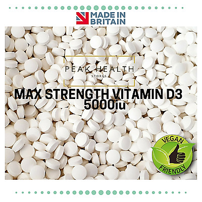 MAX STRENGTH VITAMIN D3 5000iu TABLETS -IMMUNE SUPPORT-HEALTH - NOT CAPSULES
