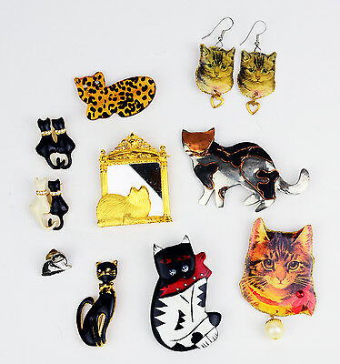 Lot of 10 Cat Items cats kittens pin earrings collection metal plastic