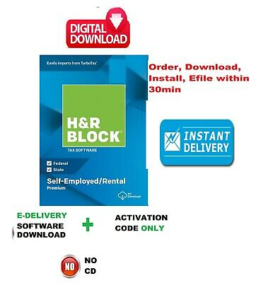 H&R Block PREMIUM 2019 Tax Software_Fed Efile: Download+Code by Instant Email