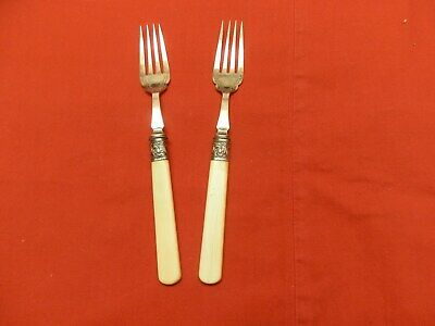 2 18Th Century Antique Ivory Handles Matched Forks