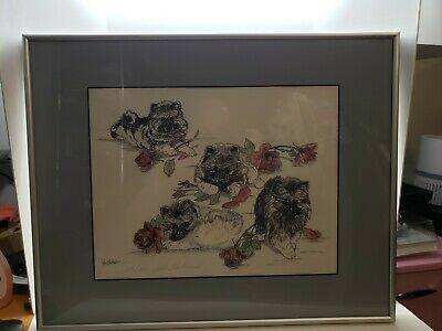 Beth Hickman Signed and Numbered Art Print Keeshond Pups and Roses dogs