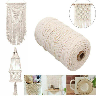 200m 3mm Beige Cotton Twisted Cord Rope Artisan Macrame String DIY Catcher Craft
