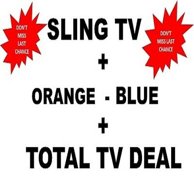 SlingTV Orange + Blue  TOTAL TV +7 EXTRA DEAL 😲 LIFETIME 😲 Instant Delivery