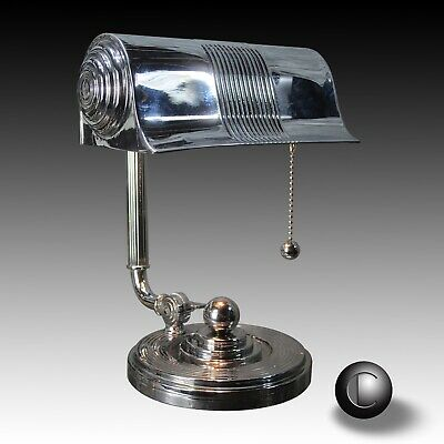 VTG 1930's Machine Age Art Deco Chrome Bankers Lamp RESTORED