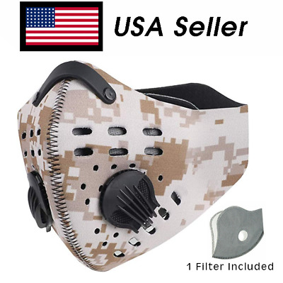 Cycling Mask with Filter Dual-valve Breathable Anti-droplets USA Ship Tan Camo
