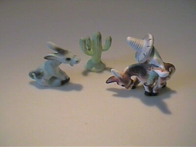Vintage 1960'S Miniature Bone China Donkey, Cactus And Mexican Rider