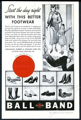1936 Red Ball Band shoes sneakers women's heels boots art vintage print ad