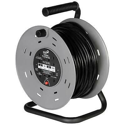 50m Cable Extension Reel Heavy Duty Outdoor 4 Way 13A Sockets Thermal Cut Out