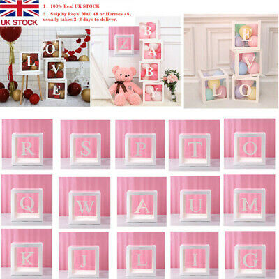 A-Z Baby Shower Decor Boxes Transparent Balloons Packing DIY Letter Stand Cube