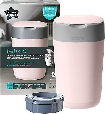 Tommee Tippee Twist & Click Nappy Nappies Change Disposal Sangenic Tec Bin, Pink