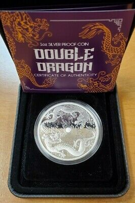 2020 Australia 1 oz Silver Proof Double Dragon ~ Only 2500 Minted