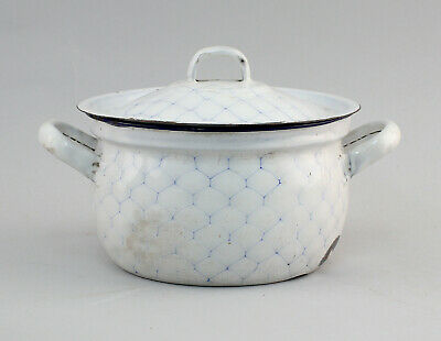 99880119 Old Enamel Pot Netzmuster Enamelled Iron Saucepan