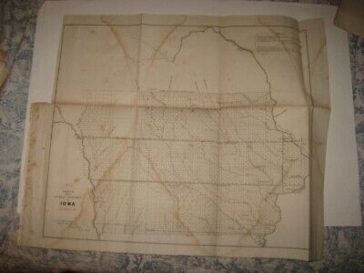 Early Fine Antique 1854 Iowa Dated Map Fort Des Moines Dubuque Cedar Rapids Nr