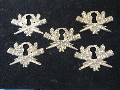 5 Matching Vintage Cast Brass Escutcheon Key Hole Escutcheons Classic Garland NR
