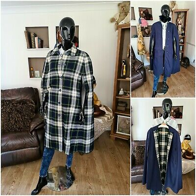 70s Reversible Glen Barden Womens Wool Plaid Check Womens Cape Shawl Tartan L