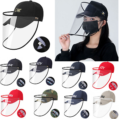 Embroidered Removable Face Shield hat Facial Cover Safety Baseball Protector Cap