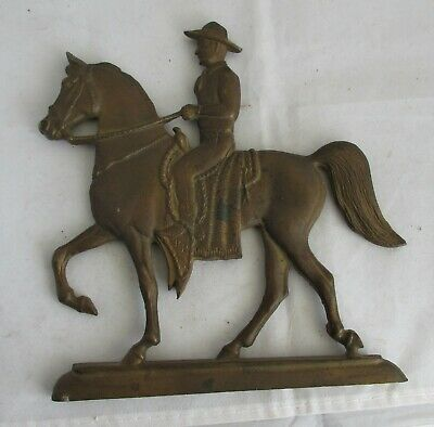 Unusual Antique Cast Iron Horse And Rider Marked, Pal Pony By Givins