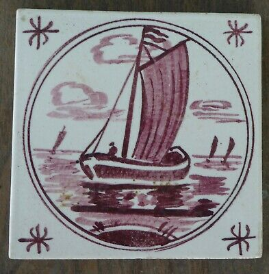 """Vintage Portuguese Tile Red Sail Boat 5-3/8"""" B3 Very good condition PR4"""
