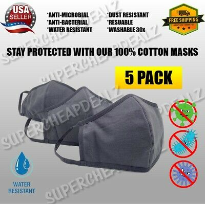5 Pack - GREY 100% Cotton Three Layer Adult Face Mask - Reusable Washable Unisex