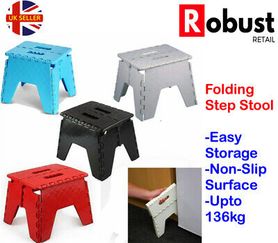 RR Plastic Folding Step Stool Multi Purpose Easy Storage Foldable Home Kitchen