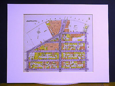 Brooklyn Map 1929 Matted EAGLE COMMERCIAL BOX OAKLAND ASH VERNON AVE. BRIDGE