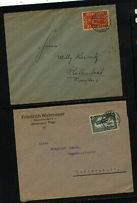 Germany  2  early  airmail stamp  covers   used           KL0212