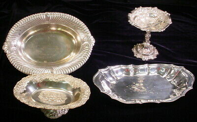 Vintage Lot of 4 Silver Plate Serving Dishes And Trays