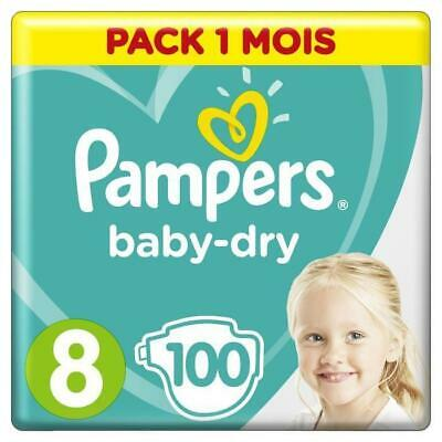 PAMPERS BABY-DRY Taille 8 - 100 couches - Pack 1 mois Aucune