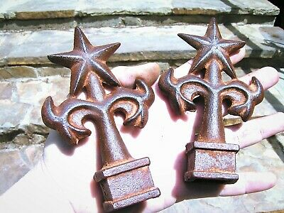TWO cast iron Star finials Architectural natural rust finish