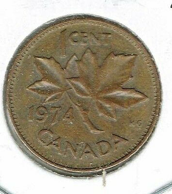 1974 Canadian Circulated One Cent Elizabeth II Coin!
