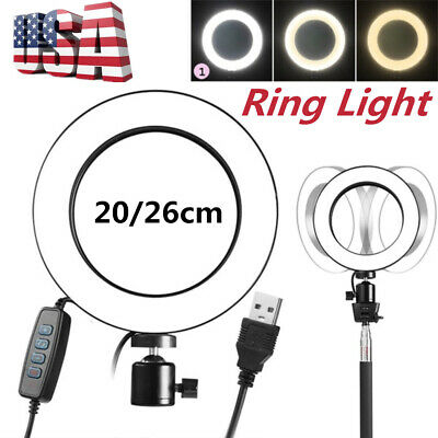 Dimmable LED Ring Video Light Photography Selfie Lighting Kit Makeup Live Lamp