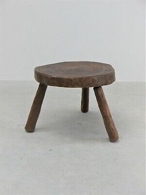 1950 Vintage Original Dutch Oversized Milking Stool Coffee Side Table Midcentury
