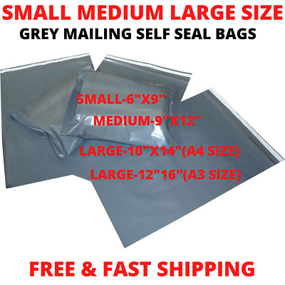 Strong Self Seal Grey Mailing Post Poly Bag Small Medium Large Sizes Postal Bags