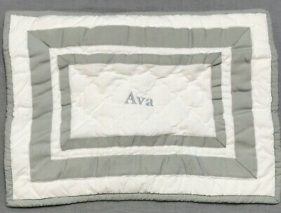 Pottery Barn Kids Gray Harper Quilted Small Sham Ava Monogram