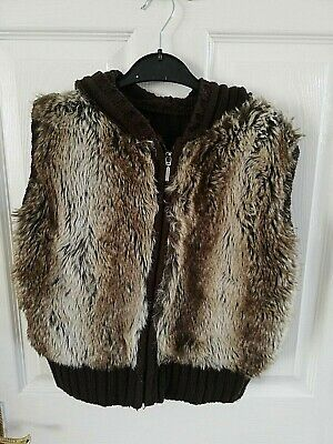 New Look Womens Sleeveless Faux Fur Gilet Jacket Brown Size 10 Hooded