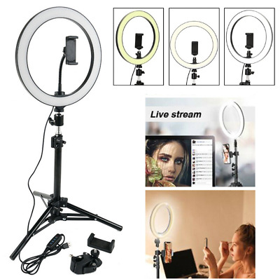 "10"" LED Ring Light With Tripod Stand PROFESSIONAL With Phone Holder Studio Photo"