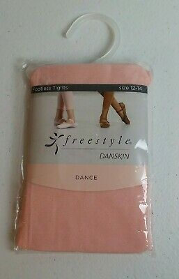 Freestyle Danskin Girls Dance Footless Tights Pink Size 12-14