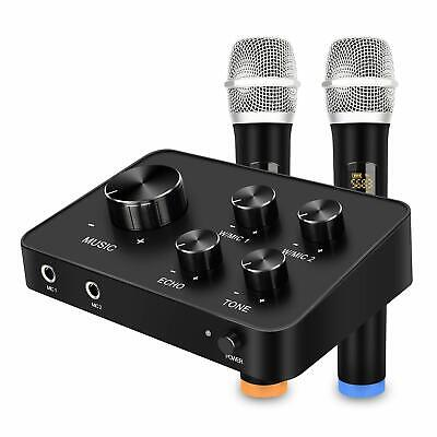 Karaoke Microphone Mixer System Set with Dual UHF Wireless Mic HDMI & AUX In/Out