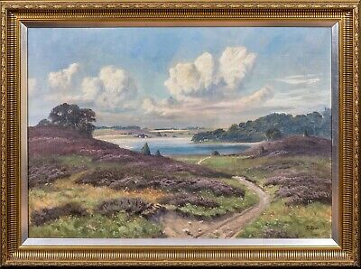 Large Circa 1900 English Country Summer River Landscape Heather Oil Painting