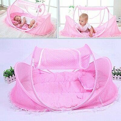 AUTOLOVER Baby Travel Bed,Baby Bed Portable Folding Baby Crib Mosquito (Pink)