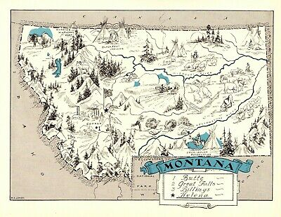 1930s Antique MONTANA State Map RARE Animated Picture Map of Montana BLU 7703