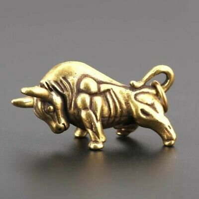ancient bronze cattle bull statue miniature brass key ring keyring keychain