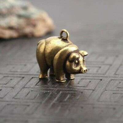 ancient bronze pig statue miniature brass key ring keyring keychain