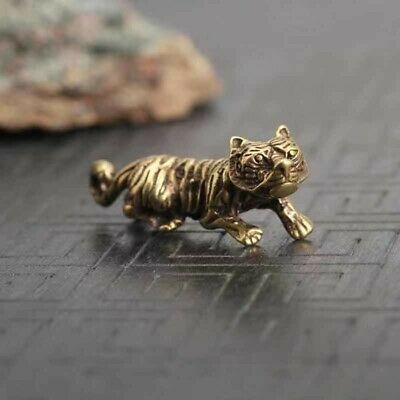 ancient bronze tiger statue miniature brass key ring keyring keychain