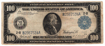 1914 $100 Federal Reserve Note New York VF Y00006615
