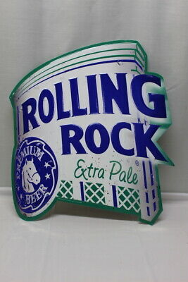 Rolling Rock Extra Pale Metal SIGN Man Cave BAR