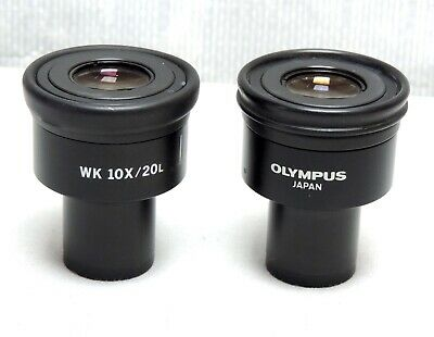 Olympus WK 10X/20L Eyepieces Set Pair Microscope Parts