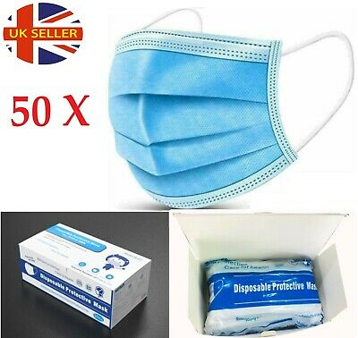 50 x Disposable Face Mask 3 PLY Disposable Face Mask