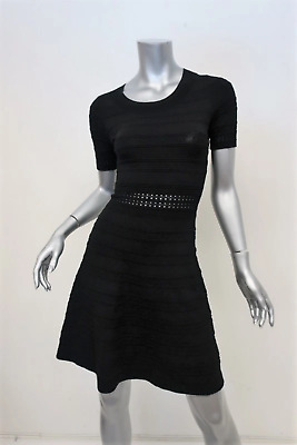 Sandro Dress Dean Black Textured Knit Size 1 Short Sleeve Fit & Flare Mini